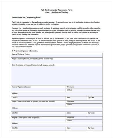full environmental assessment form