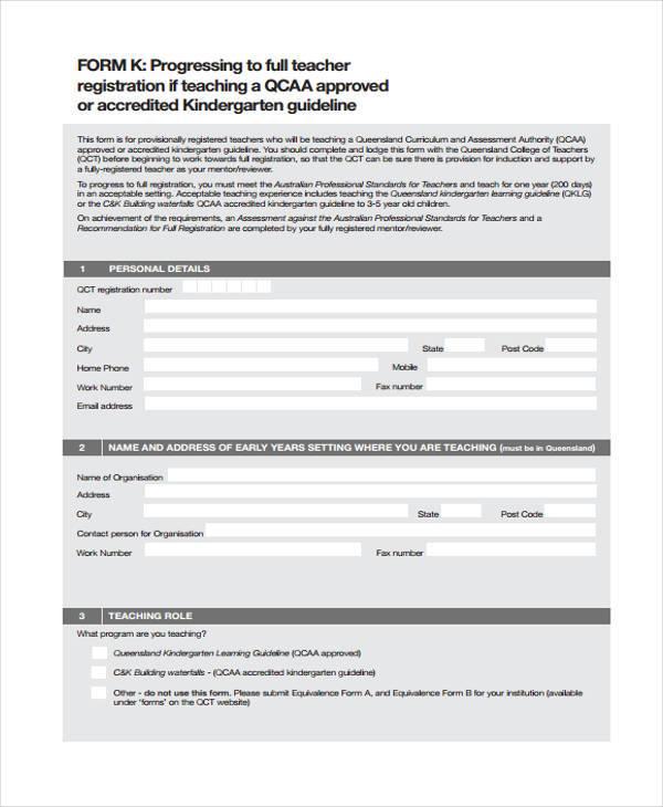 full teacher registration form