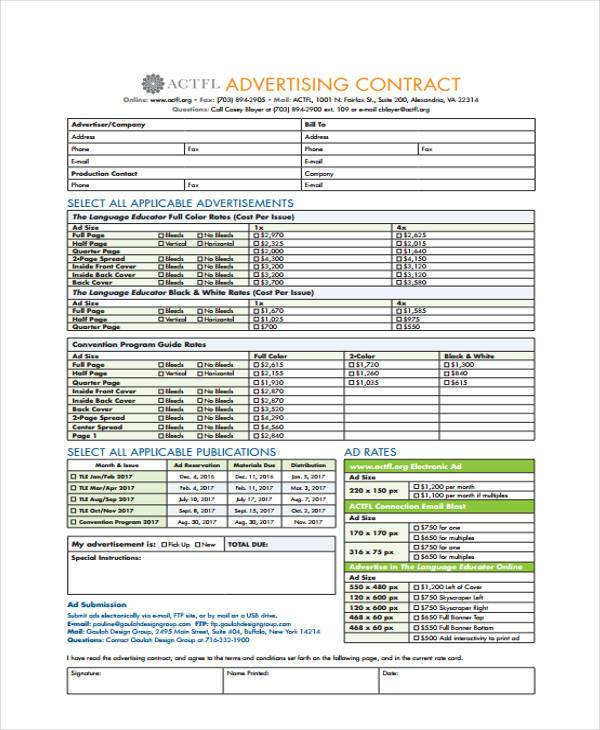 general advertising contract form