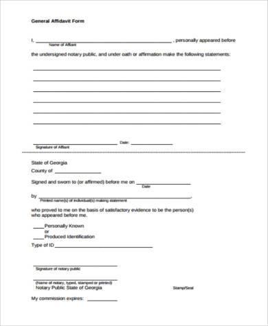 general affidavit form format