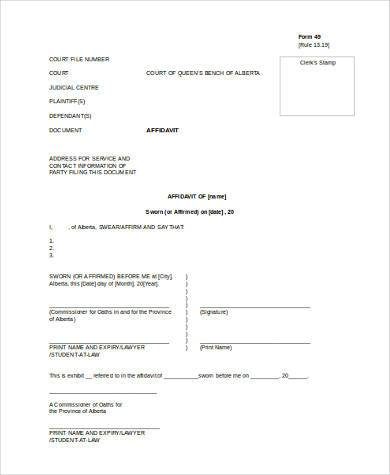 General Affidavit Word Template  Affidavit Of Fact Template