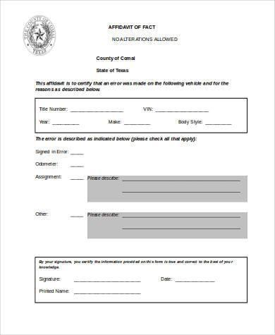 general affidavit of fact form1