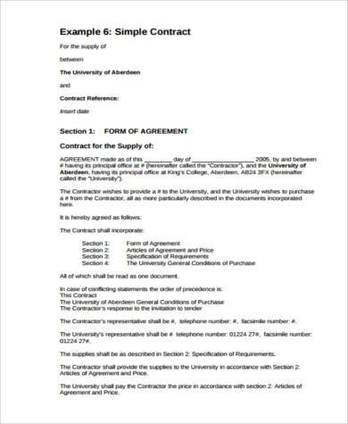 General Contract Agreement Template | General Agreement Form Samples 9 Free Documents In Word Pdf