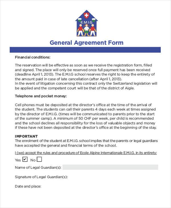General Agreement Sample Forms  Free Sample Example Format Download