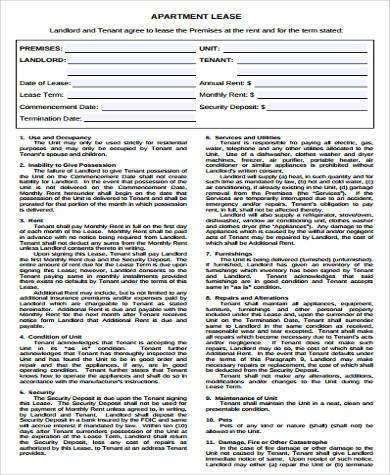 general apartment lease form