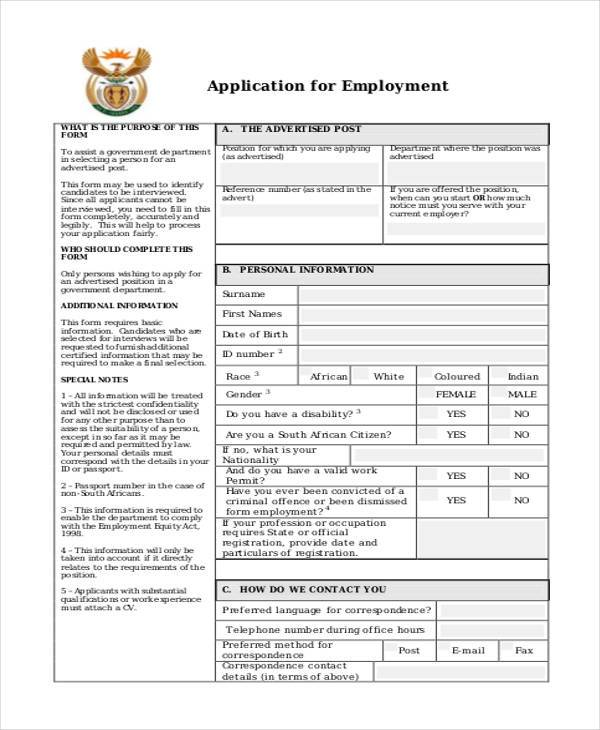 general application for employment form