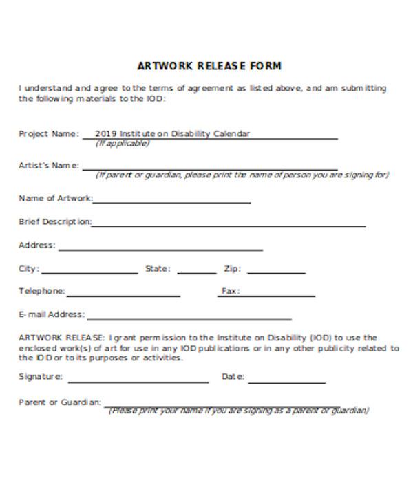 general artwork release form