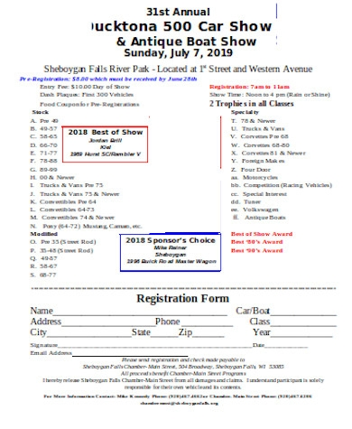 general car show registration form