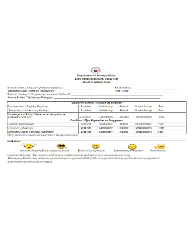 general client feedback form