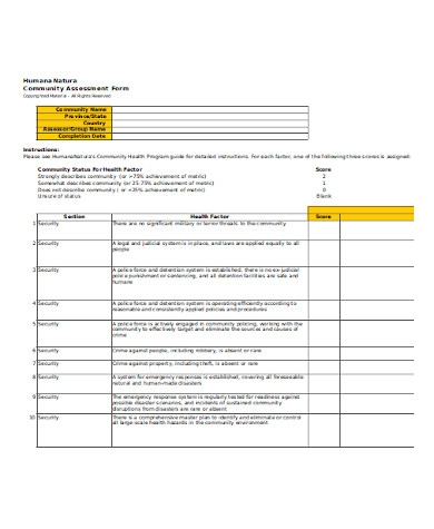general community assessment form