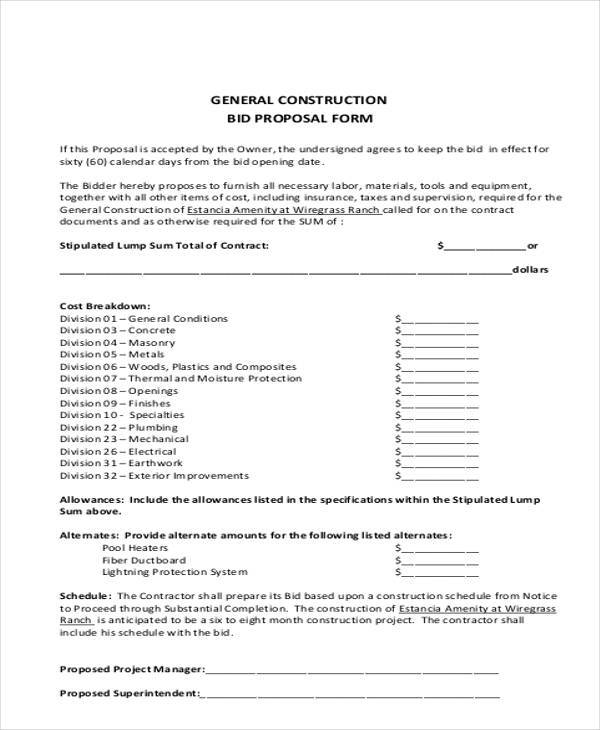 general construction bid proposal form