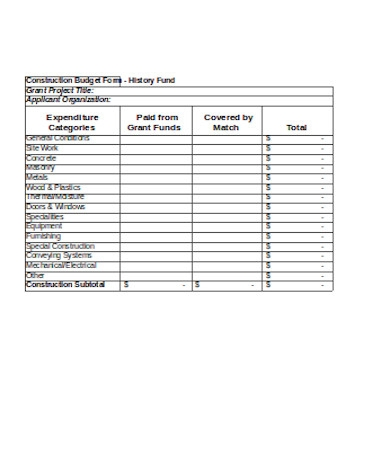 general construction budget form