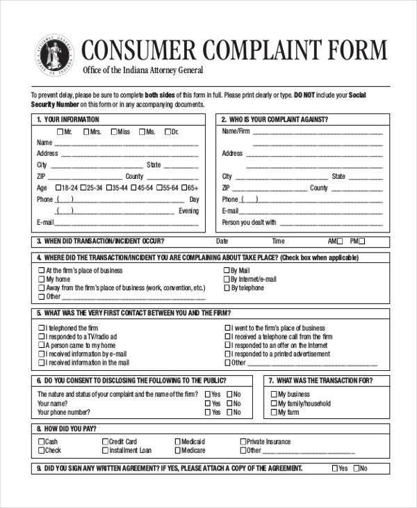 general consumer complaint form2