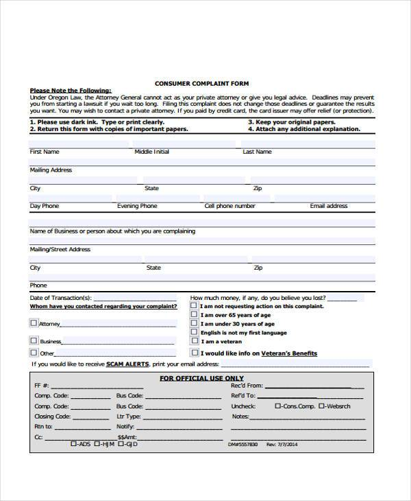 general consumer complaint form - Sample Consumer Complaint Form