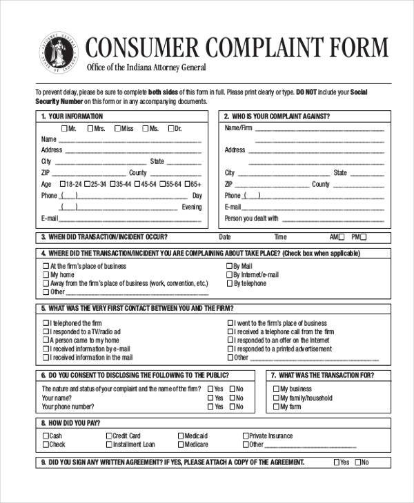 High Quality General Consumer Complaint Form