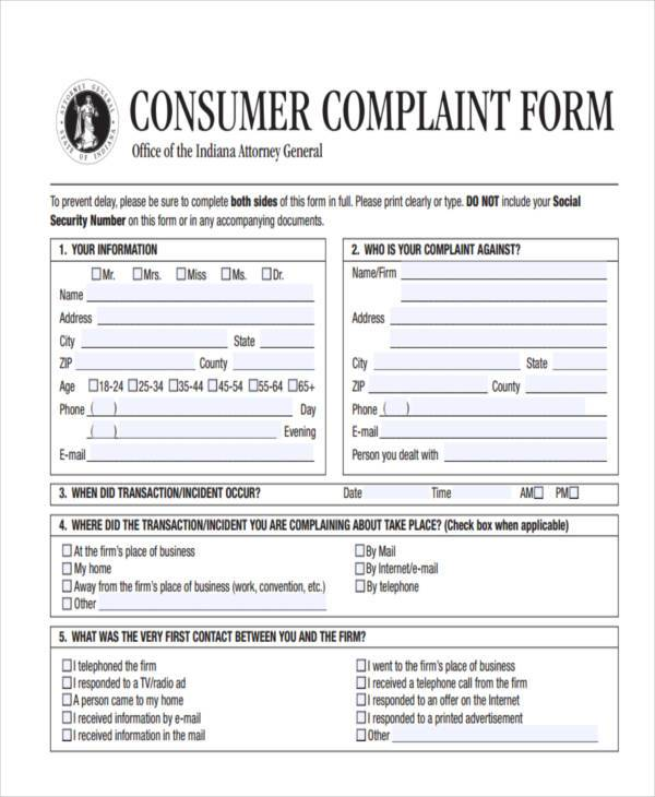Great General Consumer Complaint Form