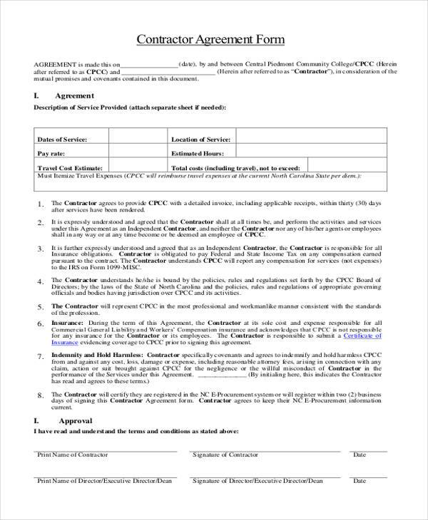 8 General Agreement Sample Forms Free Sample Example Format Download