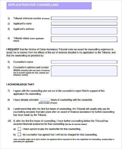 general counseling application form