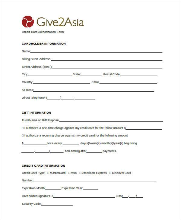 general credit card authorization form