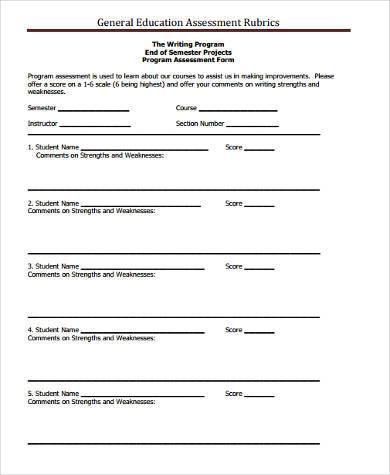 general education assessment form