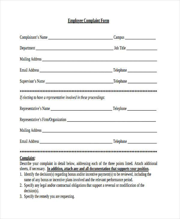 general employee complaint form