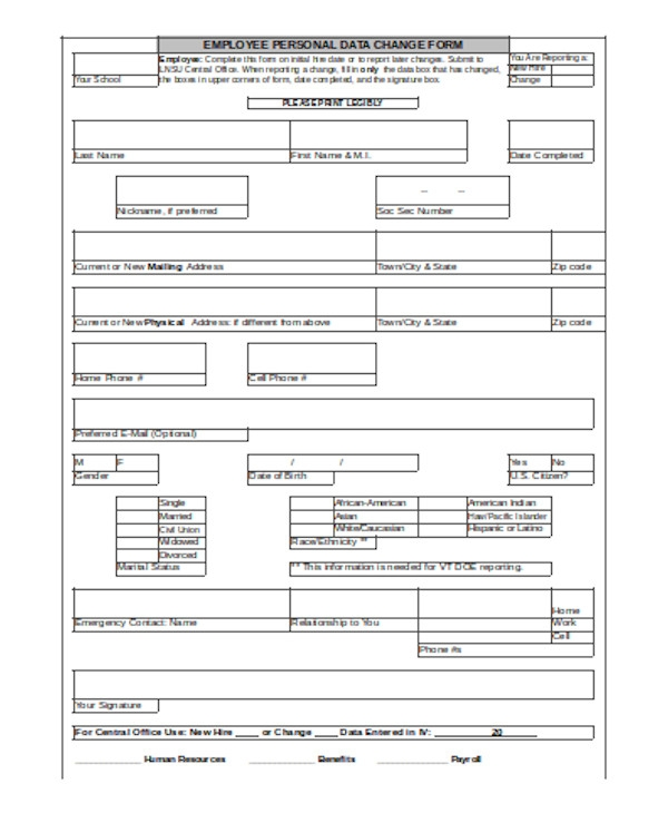 general employee personal information form