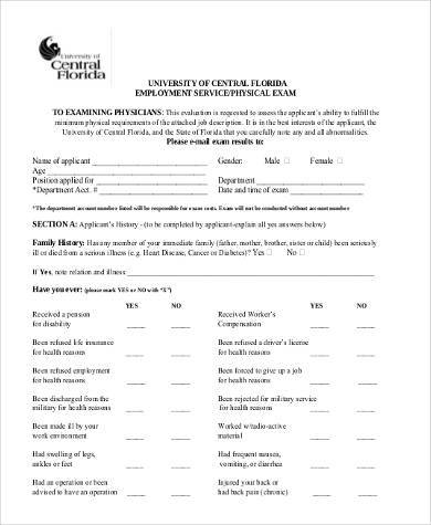 general employment physical form