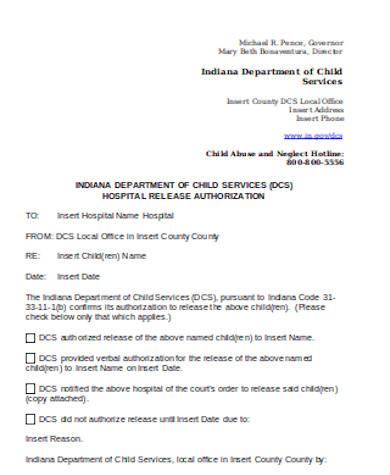 general hospital release form
