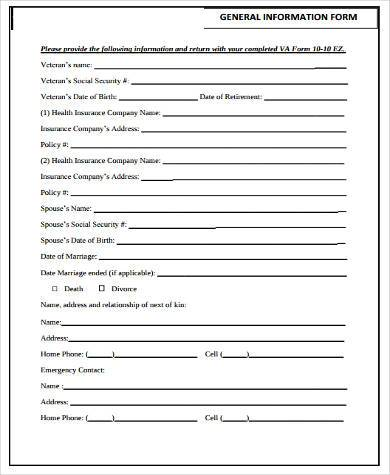 General Information Form Samples 9 Free Documents In