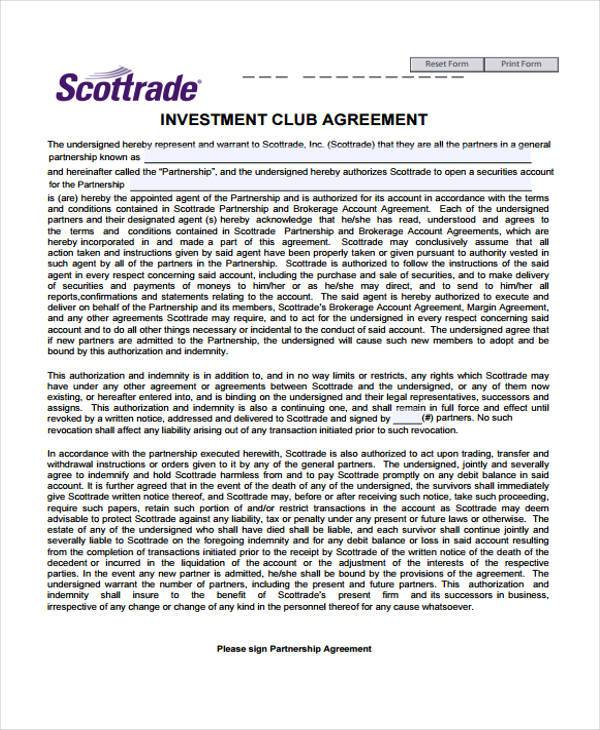 7 Investment Club Agreement Form Samples Free Sample
