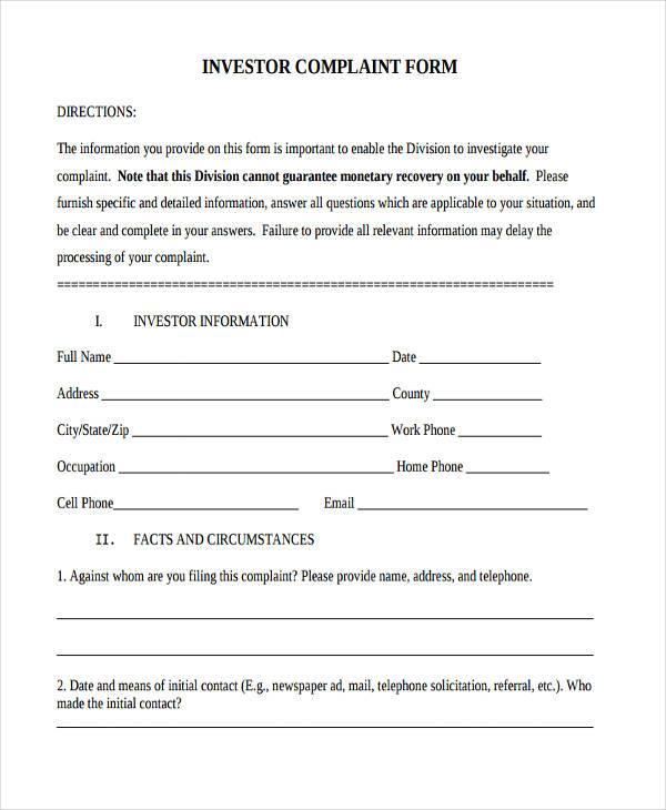 general investor complaint form1