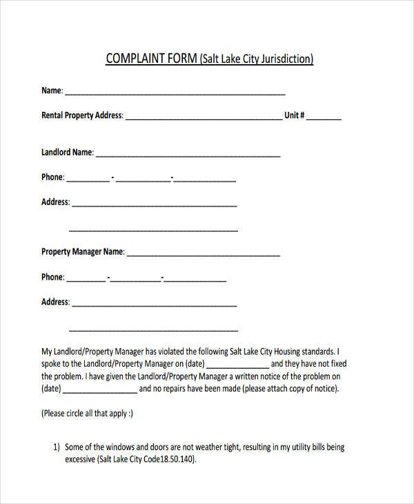 general landlord complaint form