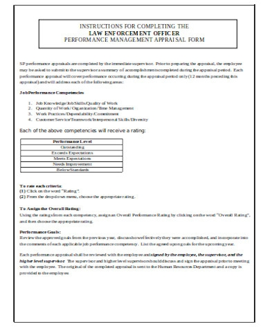 general management appraisal form