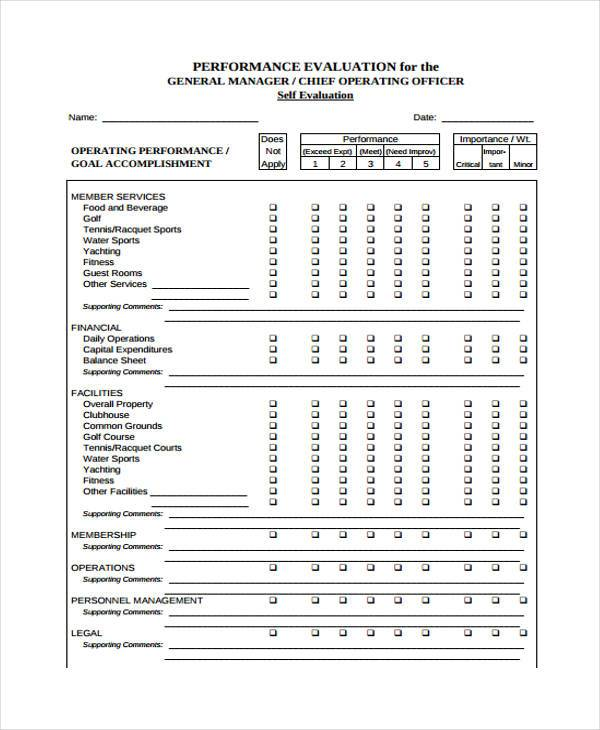 Sample Manager Evaluation Forms   Free Documents In Word