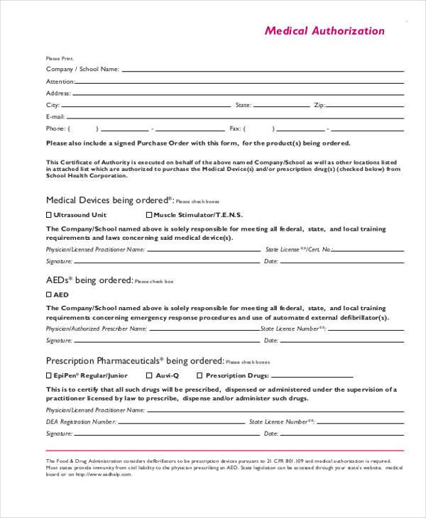 general medical authorization form