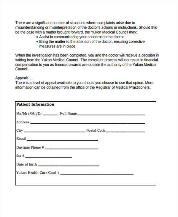general medical council complaint form