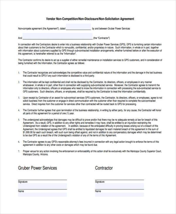 general non compete agreement form example
