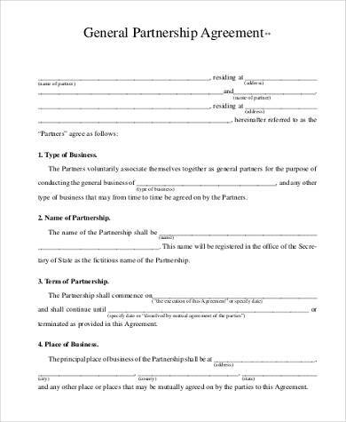 general partnership agreement form2
