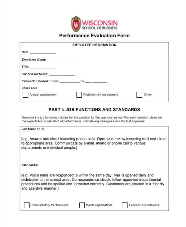General Evaluation Form Samples  Free Sample Example Format