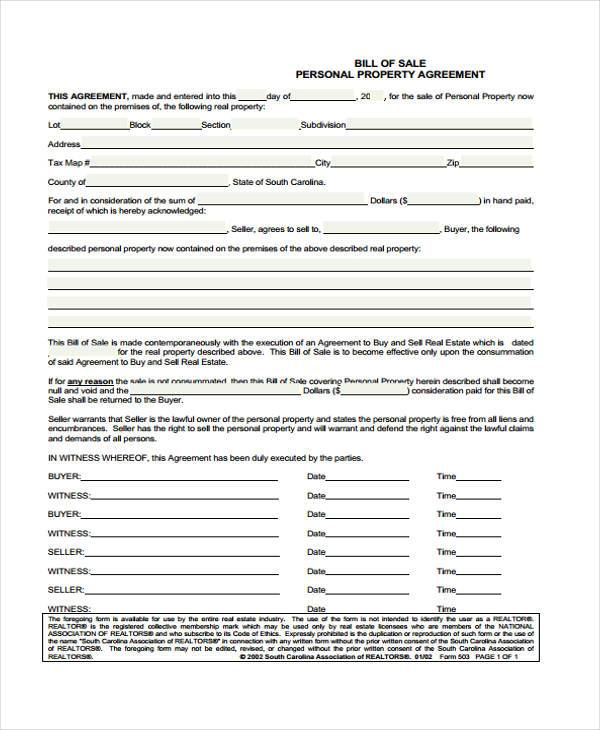 general personal property bill of sale form