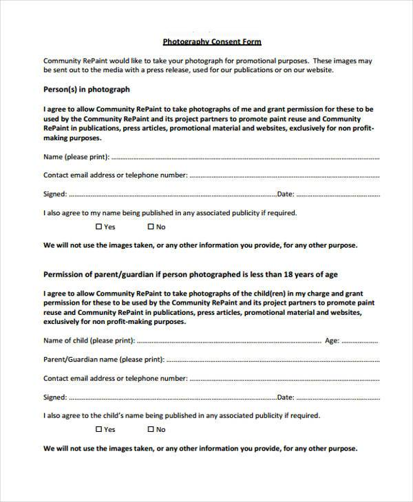 Sample photography consent forms 8 free documents in for Photography permission form template