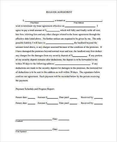 Sample Release Agreement Forms   Free Documents In Word Pdf