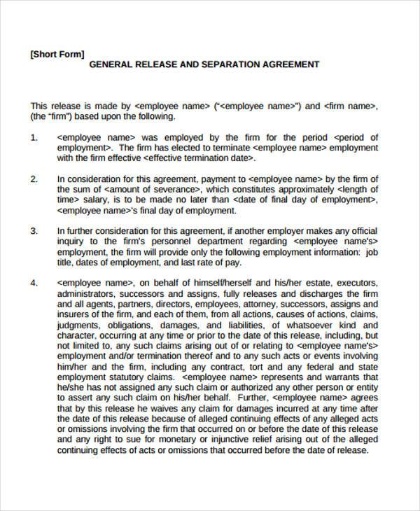Release Agreement. Employment Separation Release Agreement Sample