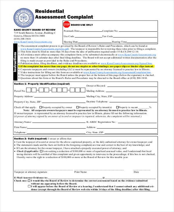general residential complaint form