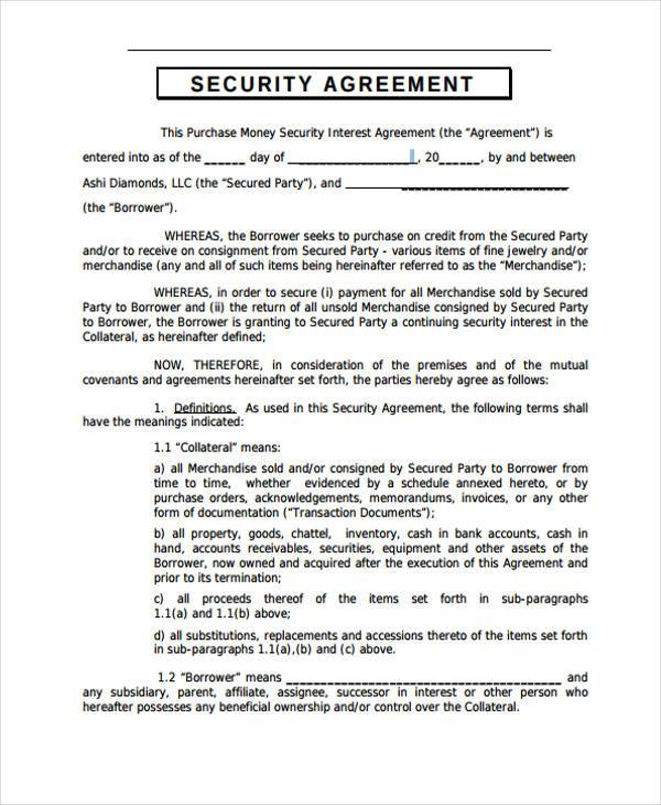 10 security agreement form samples free sample example for Security contracts templates