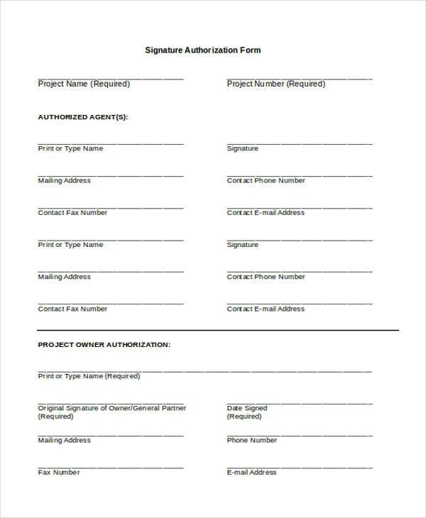 general signature authorization form