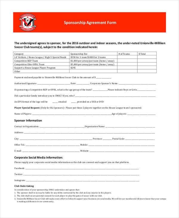general sponsorship agreement form