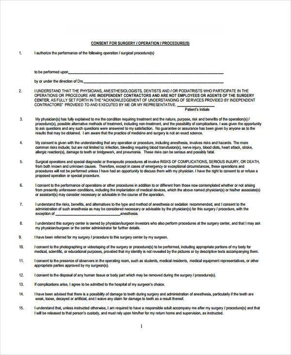 general surgery consent form