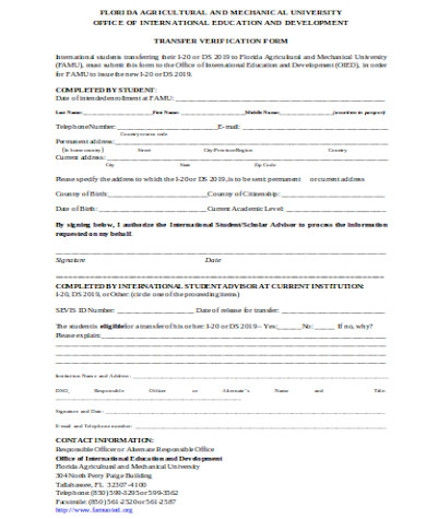 general transfer verification form