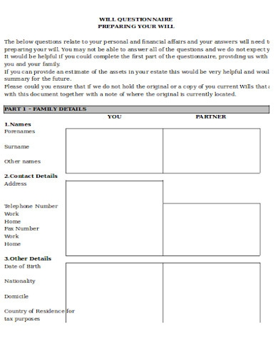 general will questionnaire form1
